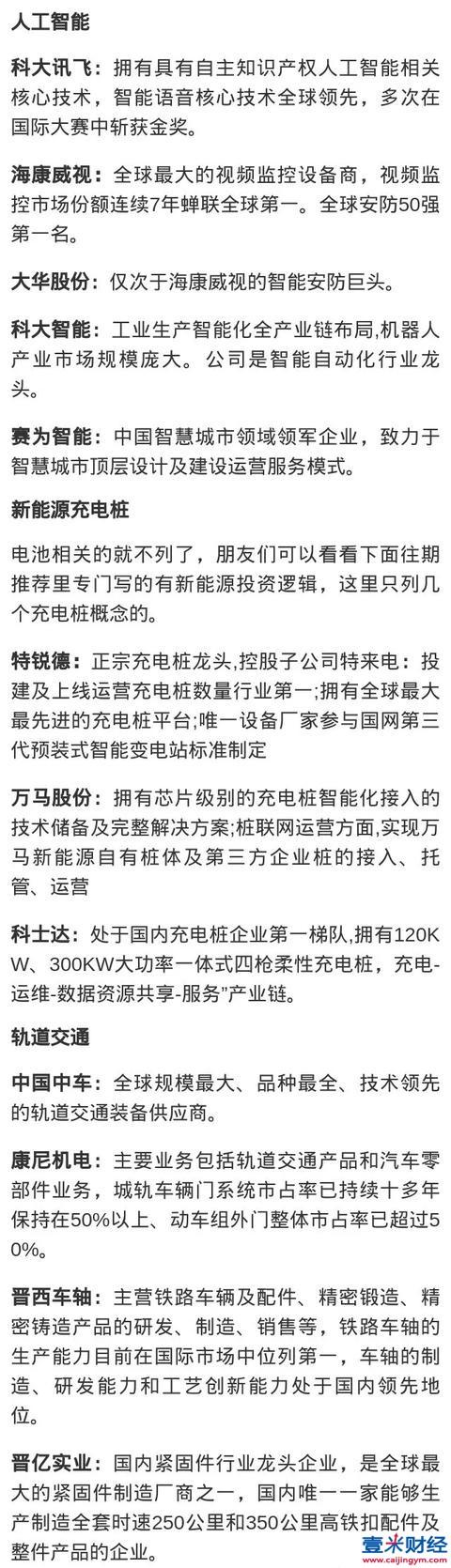 中国A股:新基建七大板块龙头个股(名单)