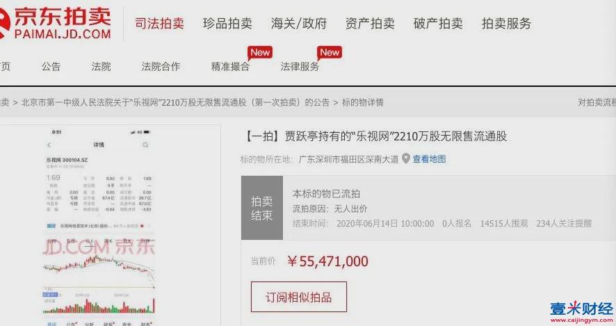 乐视网股票拍卖流拍:1.45万人围观0人报名